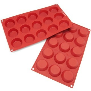 Freshware 15-cavity Mini Cheesecake/ Pudding/ Tart/ Muffin Silicone Mold/ Baking Pans (Pack of 2)
