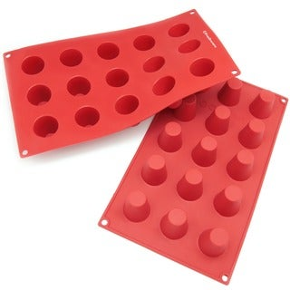 Freshware 15-cavity Mini Cylinder Silicone Mold/ Baking Pans (Pack of 2)