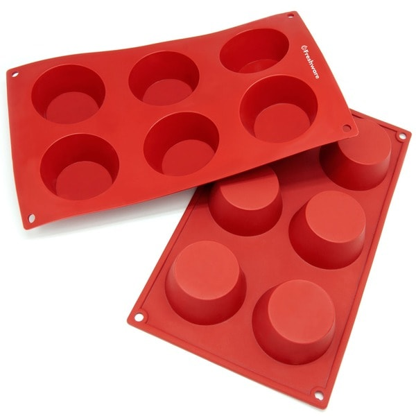 Freshware 6-cavity Cheesecake/ Pudding/ Muffin Silicone Mold/ Baking Pans (Pack of 2)