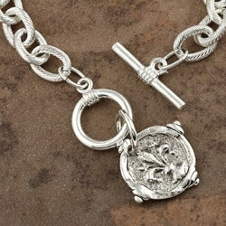 Hand-cast Silverplated Fleur De Lis Intaglio Bracelet - Thumbnail 1