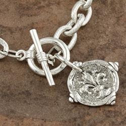 Hand-cast Silverplated Fleur De Lis Intaglio Bracelet - Thumbnail 2