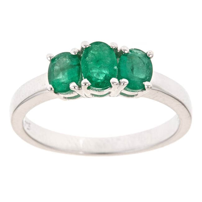 Anika and August Sterling Silver Emerald 3-stone Fashion Ring
