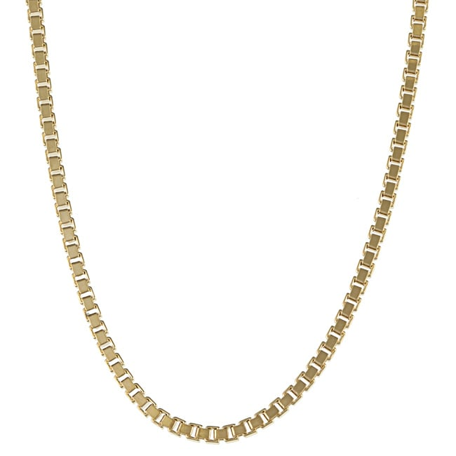 14K Gold over Sterling Silver 18-inch Box Chain Necklace