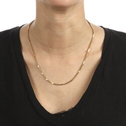 14K Gold over Sterling Silver 18-inch Box Chain Necklace - Thumbnail 2