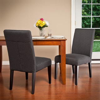 Christopher Knight Home Charcoal Contrast Stitch Fabric Dining Chair (Set of 2)