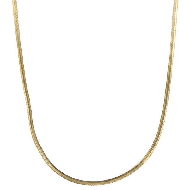 14K Gold over Sterling Silver 18-inch Snake Chain Necklace