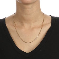 14K Gold over Sterling Silver 18-inch Snake Chain Necklace - Thumbnail 2
