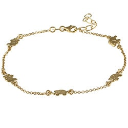 Sterling Essentials 14k Gold Overlaid Silver Lucky Elephants Anklet