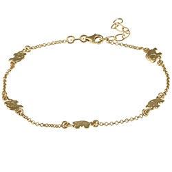 14k Gold Overlaid Sterling Silver Lucky Elephants Anklet