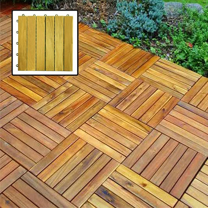 Acacia Hardwood Deck Tiles Pack Of 10 Free Shipping