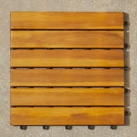 Vifah Natural Acacia Hardwood Deck Tiles (Pack of 10)