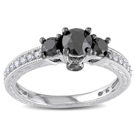 Miadora 10k White Gold 1 1/4ct TDW Black and White Diamond 3-Stone Plus Ring