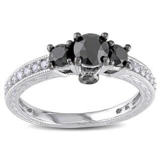 Miadora 10k White Gold 1 1/4ct TDW Black and White Diamond 3-Stone Plus Ring