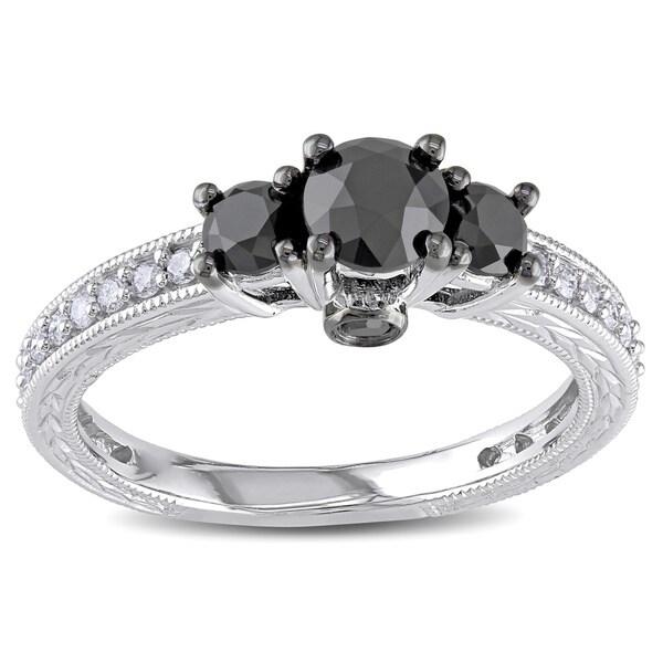 Miadora 10k White Gold 1 1/4ct TDW Black and White Diamond 3-Stone Plus Ring (G-H, I2-I3)