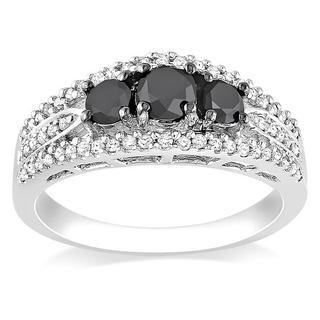 Miadora 10k White Gold 1ct TDW Black and White Diamond 3-stone Ring