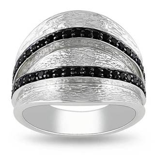 Miadora Sterling Silver Round-cut Black Spinel Fashion Ring