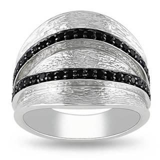 Miadora Sterling Silver Round-cut Black Spinel Fashion Ring
