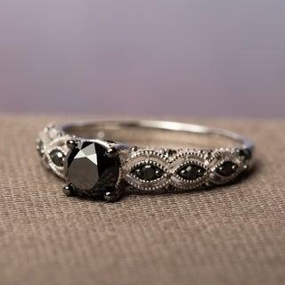 Link to Miadora 10k White Gold 1 1/4ct TDW Round Black Diamond Engagement Ring Similar Items in Rings