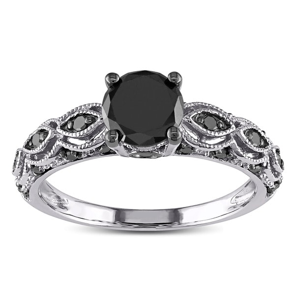 Miadora 10k White Gold 1 14ct TDW Round Black Diamond Engagement