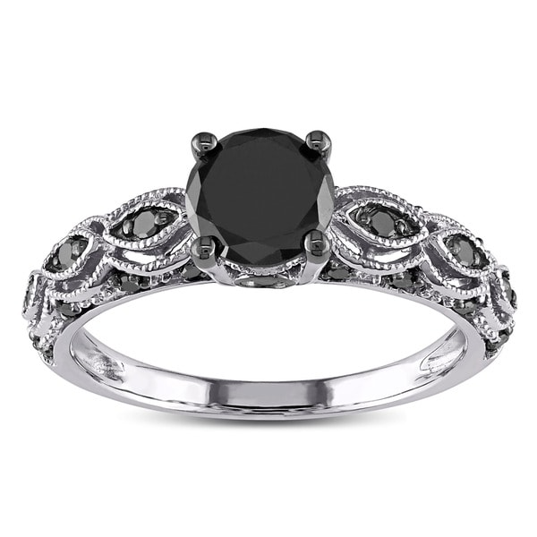 10k White Gold 1 1/4ct TDW Black Diamond Infinity Engagement Ring by Miadora