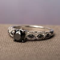 Miadora 10k White Gold 1 1/4ct TDW Round Black Diamond Engagement Ring