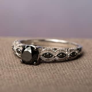 miadora 10k white gold 1 14ct tdw round black diamond engagement ring - Platinum Diamond Wedding Rings