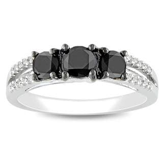 Miadora 14k White Gold 1ct TDW Black and White Diamond 3-stone Ring