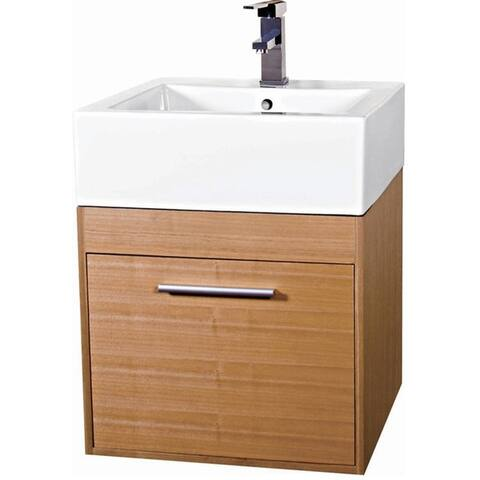 Fine Fixtures Glamour 20-inch Wood Light Maple/ White Bathroom Vanity