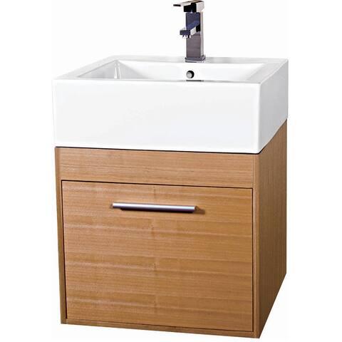 Fine Fixtures Glamour 20-inch Wood Light Maple/ White Bathroom Vanity