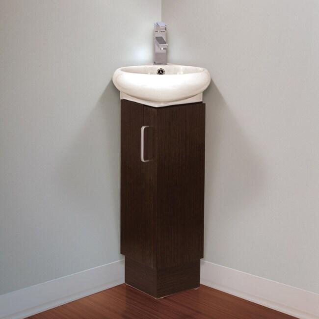 Fine Fixtures Milan Small Solid Wood Corner Bathroom Vani...