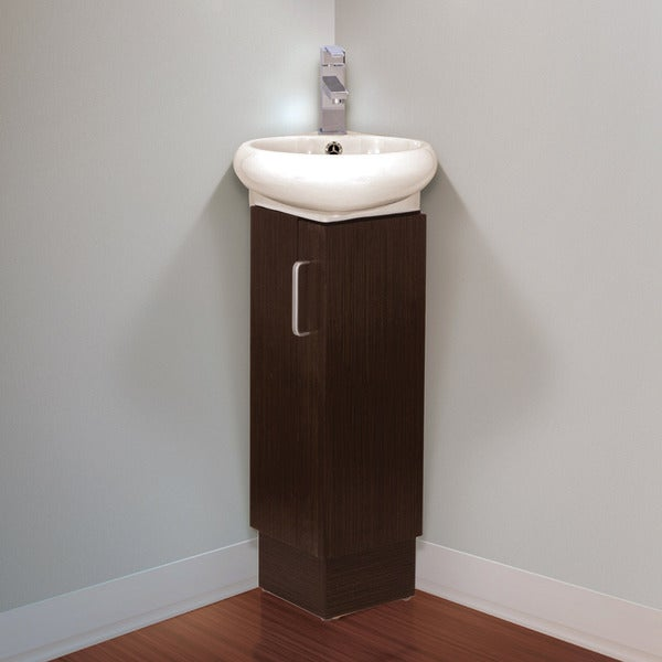 Shop fine fixtures milan small solid wood corner bathroom - Corner bathroom vanities for sale ...