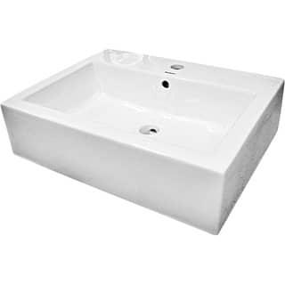Fine Fixtures Ceramic White Rectangular Bathroom Vessel Sink|https://ak1.ostkcdn.com/images/products/5995227/P13683577.jpg?impolicy=medium