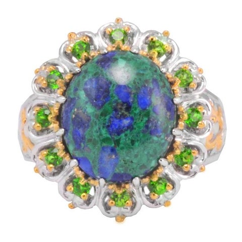 Michael Valitutti Two-tone Azurite and Chrome Diopside Ring