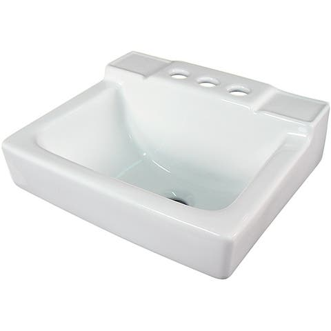 Fine Fixtures Ceramic 14-inch Small White Wallmount Sink