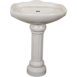 Fine Fixtures Ceramic 22-inch White Pedestal Sink