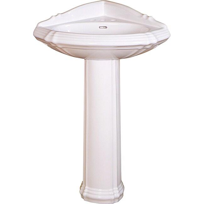 Fine Fixtures Ceramic 24.75-inch White Corner Pedestal Si...