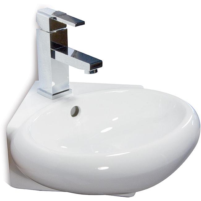 Fine Fixtures Ceramic 14.5-inch Corner White Wallmount Sink