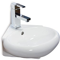 Fine Fixtures Ceramic 14.5-inch Corner White Wallmount Sink
