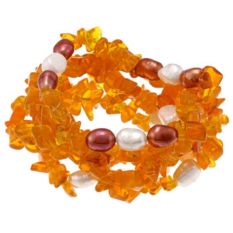 DaVonna 7-8 mm Baroque Freshwater Pearls and Orange Coral 5 Stretch Bracelets Set