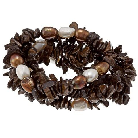 DaVonna Baroque FW Pearls and Brown Bronzite 5 Stretch Bracelets Set (7-8 mm)