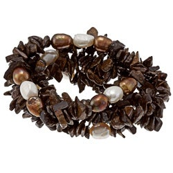 DaVonna Baroque FW Pearls and Brown Bronzite 5 Stretch Bracelets Set (7-8 mm)