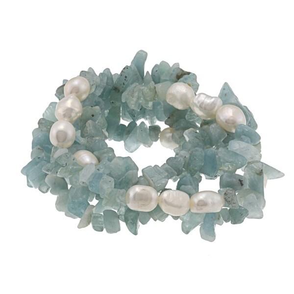 DaVonna White Baroque FW Pearls and Aquamarine 5 Stretch Bracelets Set (7-8 mm)