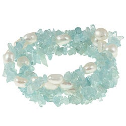 DaVonna White Baroque FW Pearls and Aquamarine 5 Stretch Bracelets Set (7-8 mm)