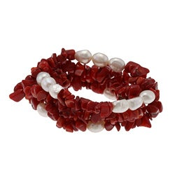 DaVonna White Baroque FW Pearls and Red Coral 5 Stretch Bracelets Set (7-8 mm)