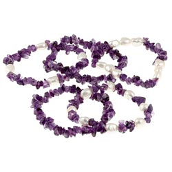 DaVonna Baroque FW Pearls and Purple Amethyst 5 Stretch Bracelets Set (7-8 mm) - Thumbnail 1
