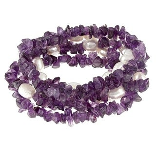 DaVonna Baroque FW Pearls and Purple Amethyst 5 Stretch Bracelets Set (7-8 mm)