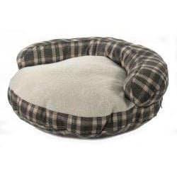 Round 35-inch Bolster Green Plaid Pet Bed - Thumbnail 1