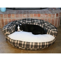 Round 35-inch Bolster Green Plaid Pet Bed