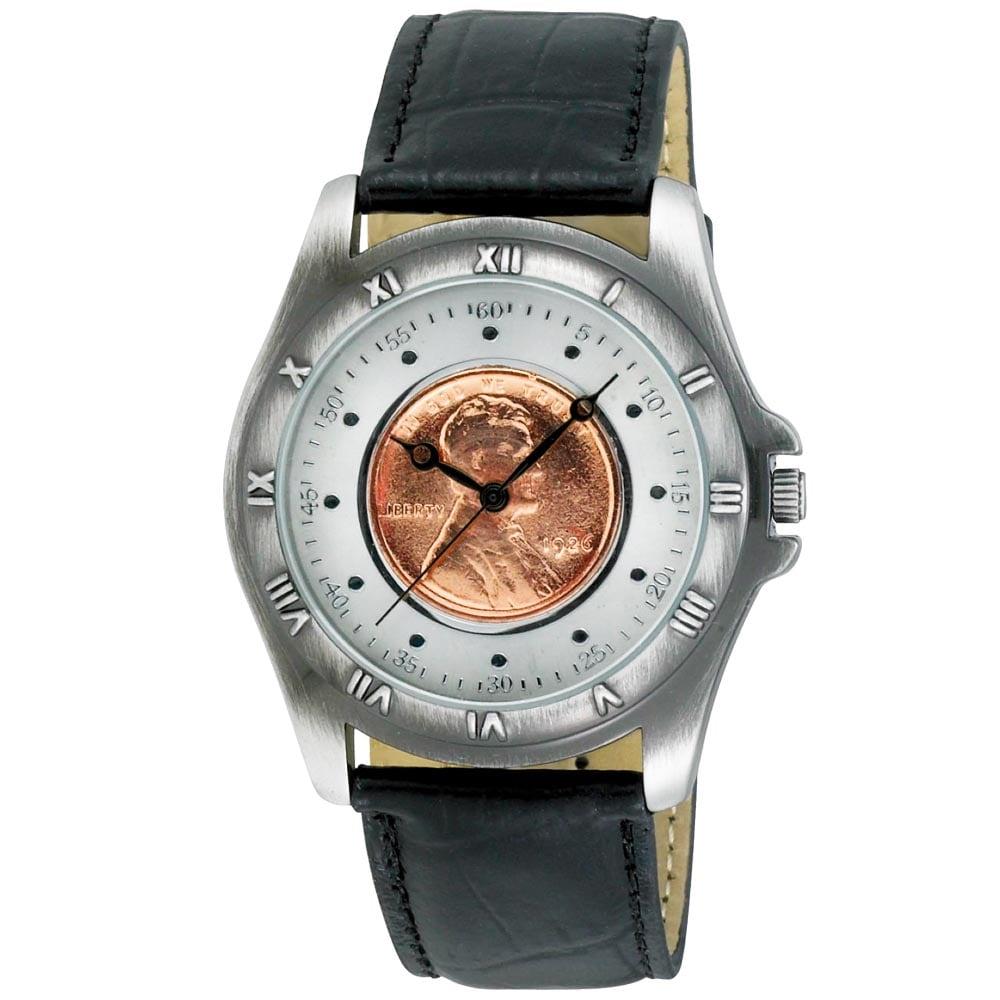August Steiner Men's Wheat Penny Antique Silver Coin Watch