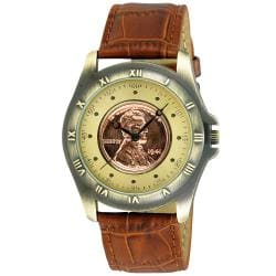 August Steiner Men's Wheat Penny Antique Gold Coin Watch